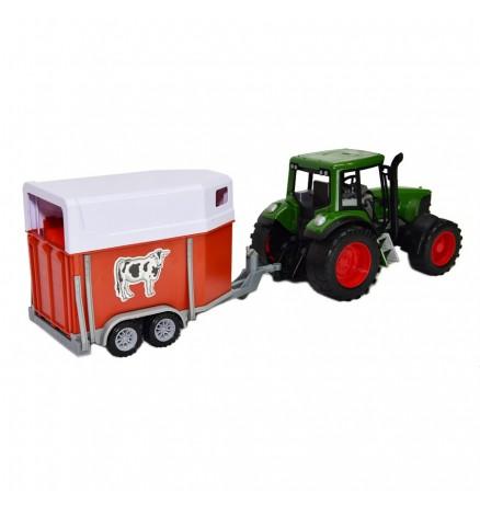 Nagy Traktor Lószállító Utánfutóval - 60 cm - Több Színben